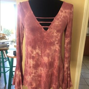 Pink tie-dye soft and sexy top